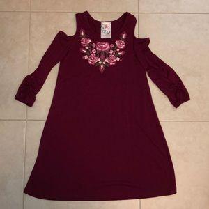 JENNA & JESSIE Burgundy Cold Shoulder Dress